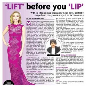 news coverage of lip lifts from doctor nirupama